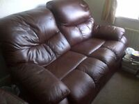 Brown Real Leather Recliner 2 Seat Sofa
