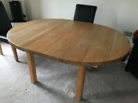 HEAVY DUTY HIGH QUALITY LARGE EXTENDER DINING ROOM TABLE IN OAK NO CHAIRS WILL SEAT 6 PERSONS