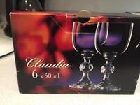 6 liquor glasses, never used!