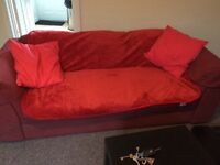 Red 3 seater sofa Comes with throw and cushions if wanted