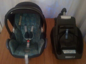 BABY CAR SEAT, MAXI-COSY, VENICCI, ISOFIX IZI, RAIN COVER, SUITABLE FROM NEW BORN - 15 MONTHS