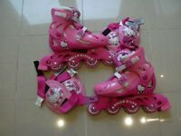 ROLLER BLADES SIZE 13 TO 5 ADJUSTABLE WITH KNEE AND ELBOW PADS HELLO KITTY VERY GOOD CONDITION