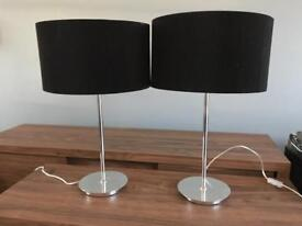 2 Black and Chrome Lamps with frosted glass