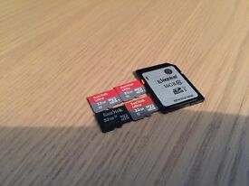 SANDISK 32GB MINI SD CARDS AND ADAPTERS/KINGSTON 16GB SD CARD