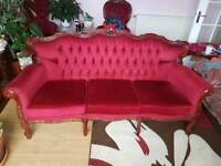 Vintage three seater couch with two matching chairs