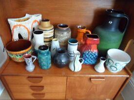 Lot 16 Pieces West German Vase Plant Pot Pottery Ceramics Fat Lava SCHEURICH Ruscha Keramik 1960's