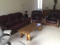Three piece leather suite,Belgian oak,very good condition