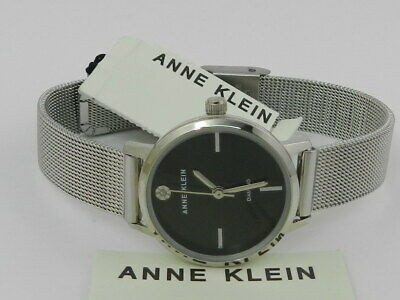 Anne Klein Women's Genuine Diamond Dial Mesh Bracelet Watch AK/3021BKSV