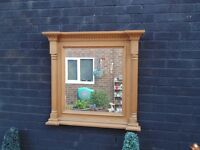 SOLID PINE FARMHOUSE LARGE WALL MIRROR PROPER CHUNKY ONE AND WITH BEAUTIFUL DETAILS