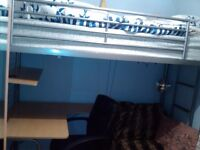 Single Bunk bed with desk underneath, good condition