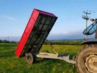 Tractor drop side tipping trailer with steel floor and sides