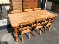 Large 8 Seater Country House Pine Dining Table & 6 Chairs