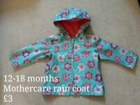 Mothercare rain coat with fleece lining 12-18 months