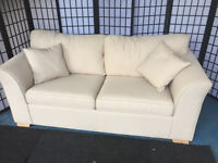 Ex Display Amelia Metal Action Sofa Bed in Beige Linen Look Fabric RRP £379