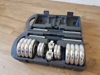 set of york weights like new condition 15kg with carry case