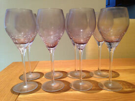 Set of Eight Purple Tinted Large Wine Glasses with 'Cracking Effect' (used once for celebration)