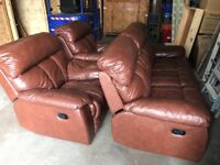 Brown recliner leather sofas for sale. ( FREE DELIVERY )