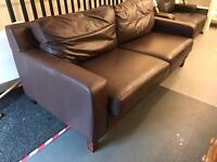 Chocolate brown leather 3 seater sofa
