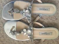 LK Bennet size 7 silver sandals