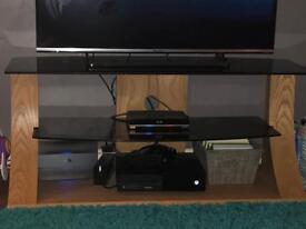 Oak and black glass tv unit