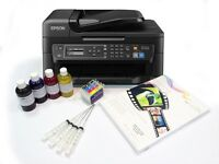 A4 Dye Sublimation Printer Package Epson WF-2630WF + Refill Carts + Ink + Paper