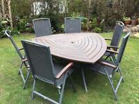 Patio table and 6 x reclining chairs