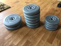 York weights 30kg total spare plastic coated weights