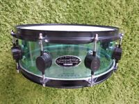 "PDP PAcific Acrylic Snare 14x5"" Coke Bottle Green, News Heads both sides"
