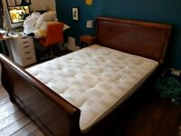 Solid Wood King Sized Sleigh Bed (Plus Mattress!)