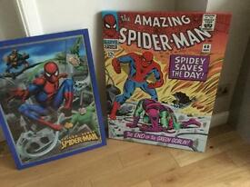 Superhero canvas and framed picture