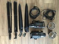 Bowens Gemini Gm 400 twin head studio lighting kit with additional accessories