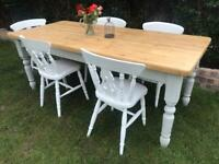 Large Farmhouse solid pine dining table (delivery available) chairs NOT included