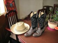 Ladies Boots - Cowboy-style Black/Grey Snakeskin - USA size 8and1/2 M - UK size 6
