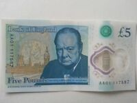 New 5pound note slight crease just of centre. Serial number AA01 117587