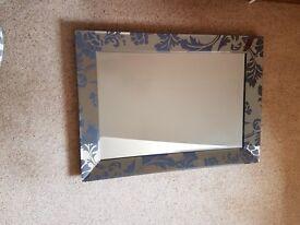 Grey/blue framed mirror