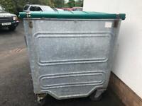 1100 litre galvanised steel bin