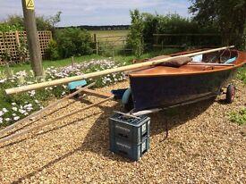 Classic wooden Enterprise sailing dinghy