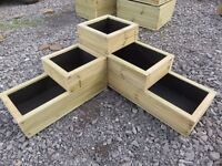 Large Wooden Corner 3 Tiered Planter. Pressure Treated, Decking Timber, Fully Lined. High Quality.