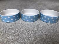 Set of 3 Blue Spotty Food Bowls for Cat or Small Dog