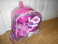 Dunlop Sport Princess Adjustable Pink Training Tri To Inline Skates & Helmet Set Size 3-6 New In Bag