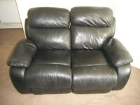 2 Seater Leather Sofa Black Manual Recliner