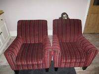Pair of Next Chairs Red/Grey/Black Stripe