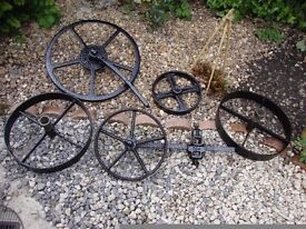 Cast Iron Wheel Set, From Horse Drawn Plough.