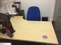3 corner office desks with chair