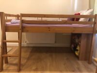Good quality cabin bed, table, and shelf stand