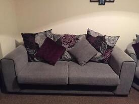 SCS Danni 3 seater sofa and 1 swivel chair - Purple and grey fabric. Immaculate condition.