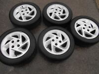 """15"""" GENUINE FORD RS TURBO ALLOY WHEELS / TYRES X 5"""