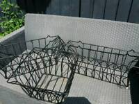 Garden plant containers x 3. Trough and hanger