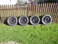 Mazda Bongo Steel Wheels and Tyres set of 4 fitted with 195/65/R15 tyres.