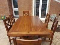 Hardwood Dining Table & 6 Chairs